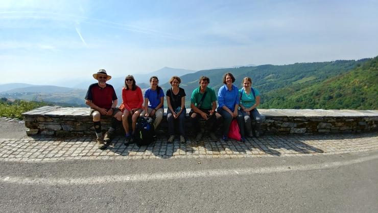 The crew on top of O'Cebreiro, Spain