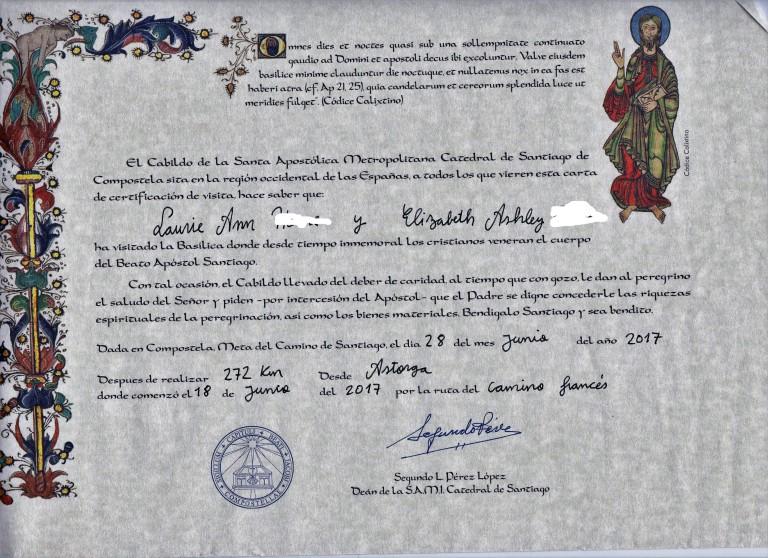 SailorsdelighttravelCertificateDistanceCamino