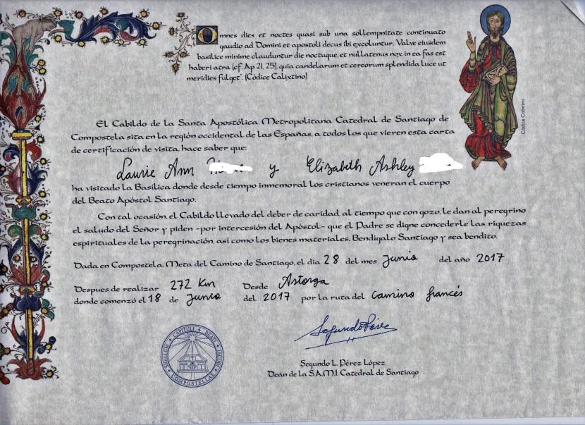 Certificate of Distance – Camino Santiago deCompostela